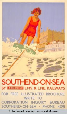 Southend-on-Sea; surfing, by Charles Pears, 1932    Published by Underground Electric Railways Company Ltd, 1932  Printed by Dangerfield Printing Company Ltd,  Format: Double royal  Dimensions: Width: 635mm, Height: 1016mm  Reference number: 1983/4/3347