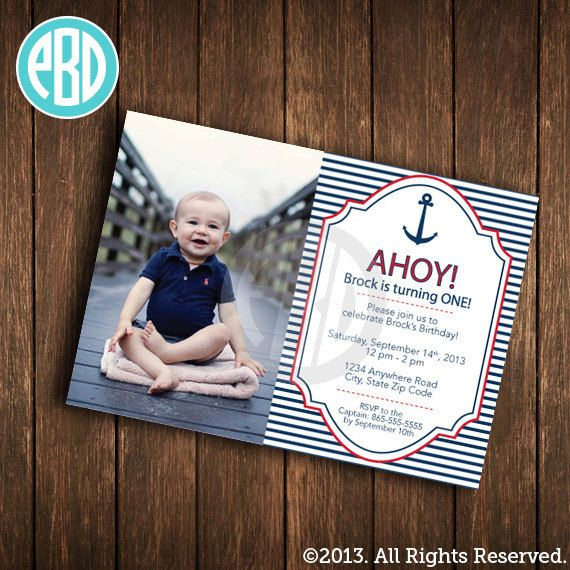 Nautical Birthday Invitation Anchor Printable File Digital FIle DIY On Etsy 1000