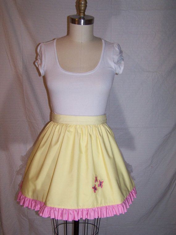 My Little Pony Fluttershy Inspired Square Gothic Lolita Adult Costume Apron w/ Ruffle Trim
