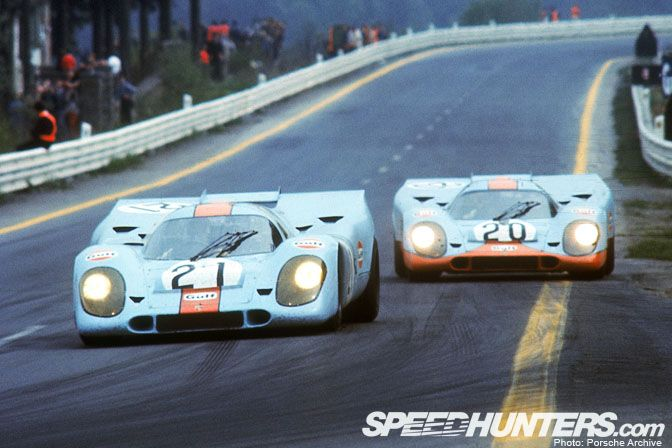 "Probably the most celebrated Porsche of all time; the Gulf sponsored 917, #20 and #21 from the movie ""Le Mans"". These 917's, well, let me restate that: ANY 917 is my favorite ;-)"