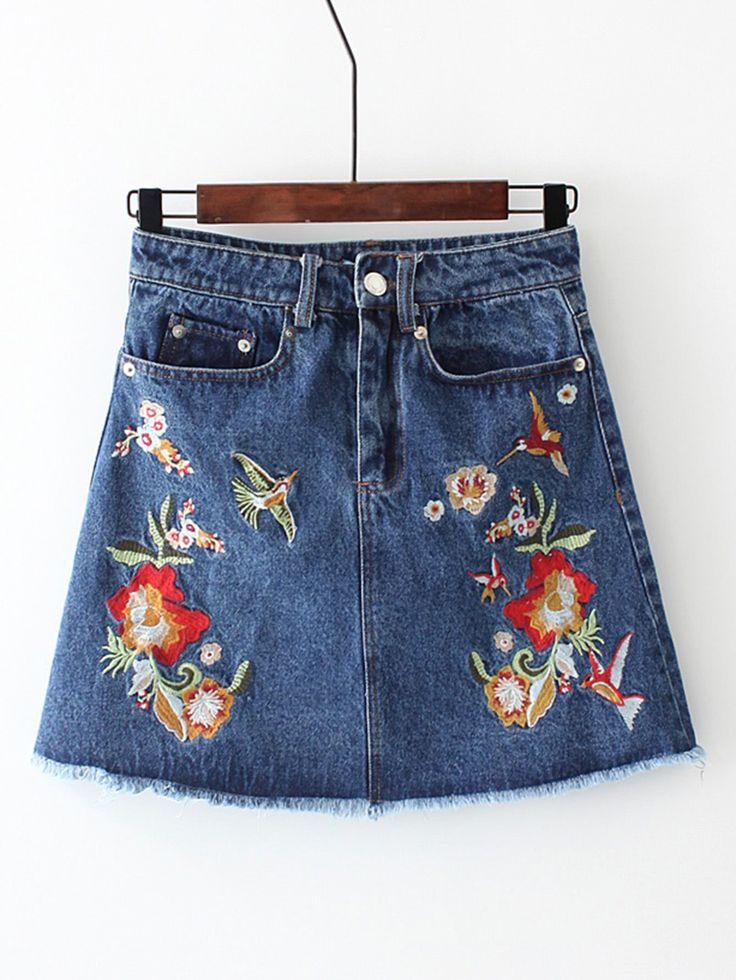 Shop Flower Embroidery Frayed Edge Denim Skirt online. SheIn offers Flower Embroidery Frayed Edge Denim Skirt & more to fit your fashionable needs.
