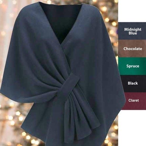 Tuck Shawl. Could easily DIY. Get a long rectangle of fabric but just long enough to wrap around and cut a couple slits on the long side.