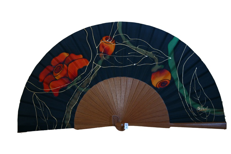 Natural silk hand painted fan. http://www.etsy.com/shop/ConchaBlanch