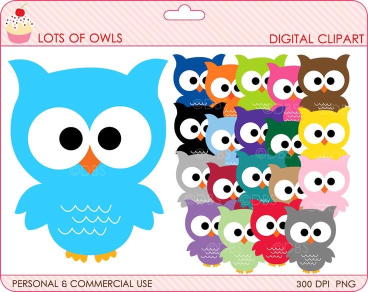 owls clipart digital clip art birds - BUY 2 GET 2 FREE - Lots Of Owls Digital Clipart. $4.95, via Etsy.