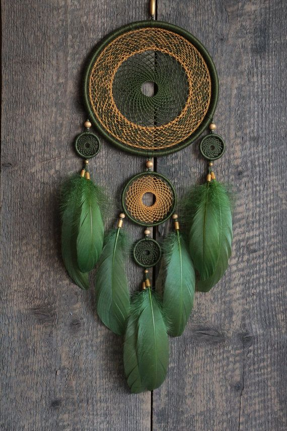 Green dream catcher/Large Dream catcher/ by MyHappyDreams on Etsy