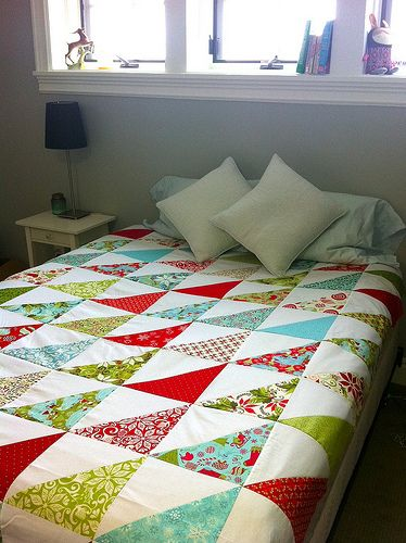 """Half-Square Triangle Quilt - I have so many 10"""" Squares, perfect for this quilt"""