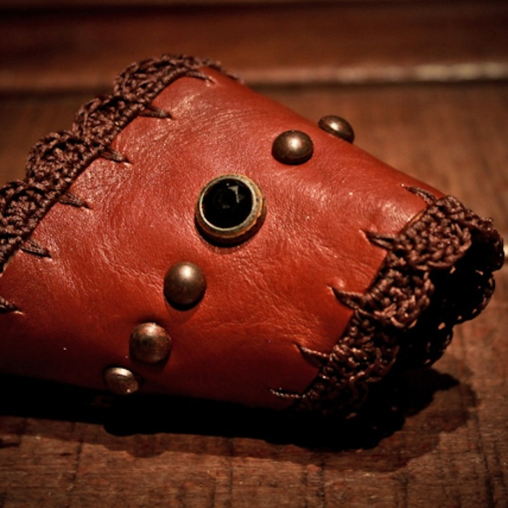 light brown thin calf leather cuff - crochet cotton waxed thread - 9 studs - 2 black hard stones - handmade in Italy