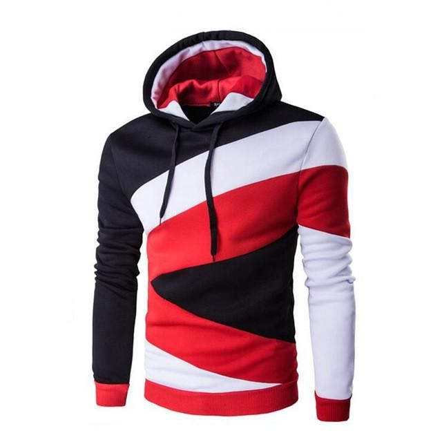 New  Spring Autumn Mens Casual Slim Fit Hooded Hoodies Sweatshirt Sportswear Male Patchwork Fleece Jacket 5 Colors M-XXL