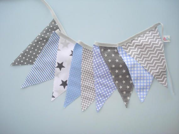 Blue and gray banner flags Fabric Flags Baby by LittleFairyCottage