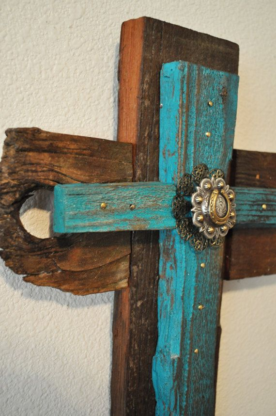 Turquoise rustic western cross one of a kind reclaimed for Cross decorations for home