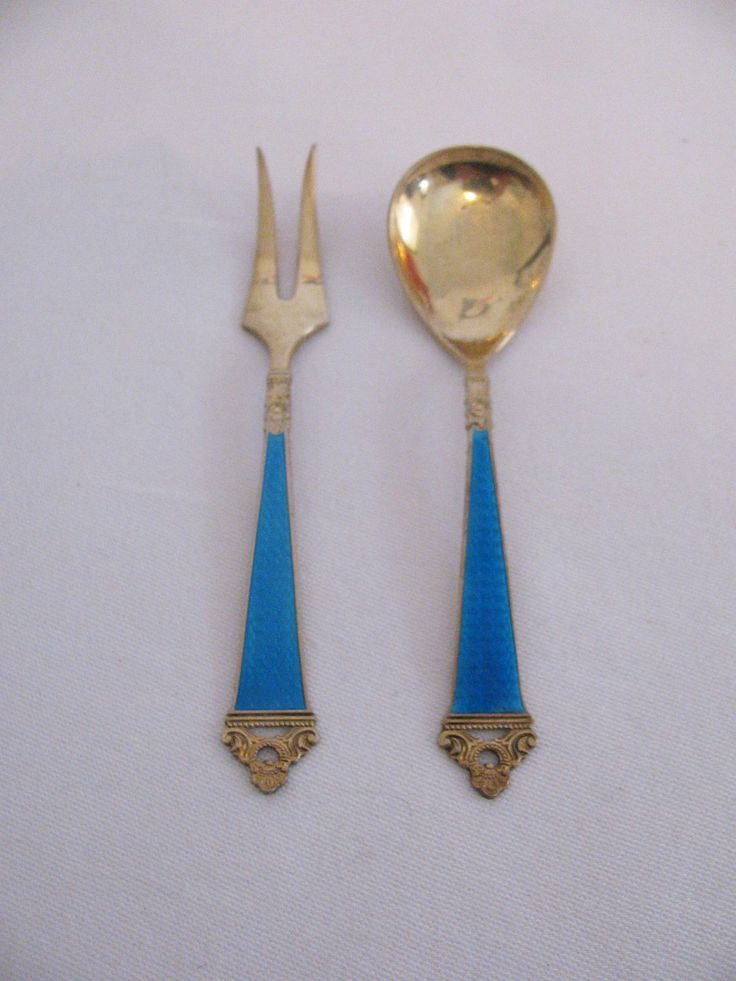 Vintage Nils Hansen Norway Odel Pattern Gold Wash Vermiel Sterling Silver Cocktail Fork and Condiment Spoon in Blue Guilloche Enamel by Snootyparrot on Etsy