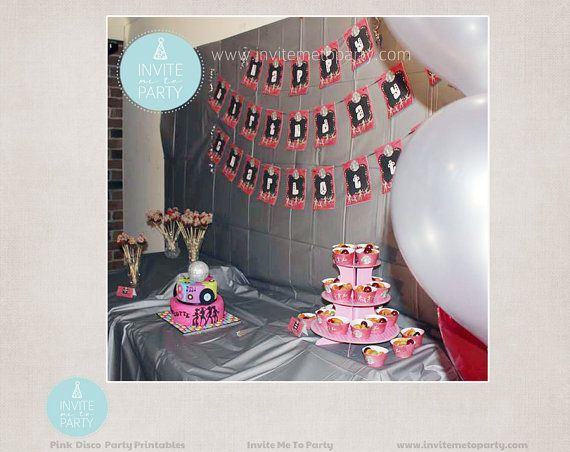 Pink Disco Party Printable Decorations / Dance by InviteMe2Party, $29.00