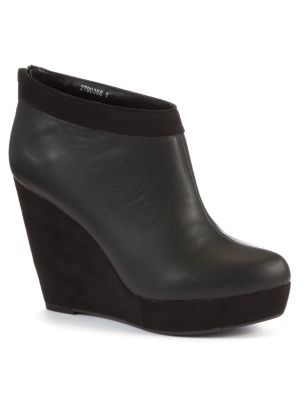 Black Leather-Look Soft Trim Wedge Ankle Boots