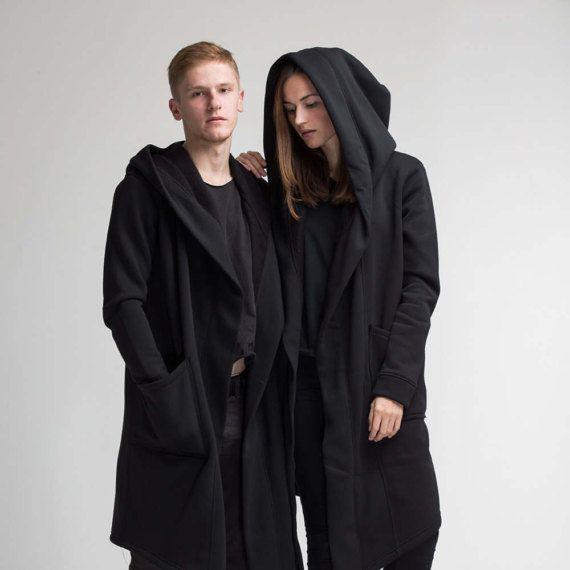 17 % vente homme femme manteau / Sci Fi vêtements / veste Oversize Sweat à capuche noir / Urban Style apocalyptique / unisexe manteau / Sweat à capuche Streetwear