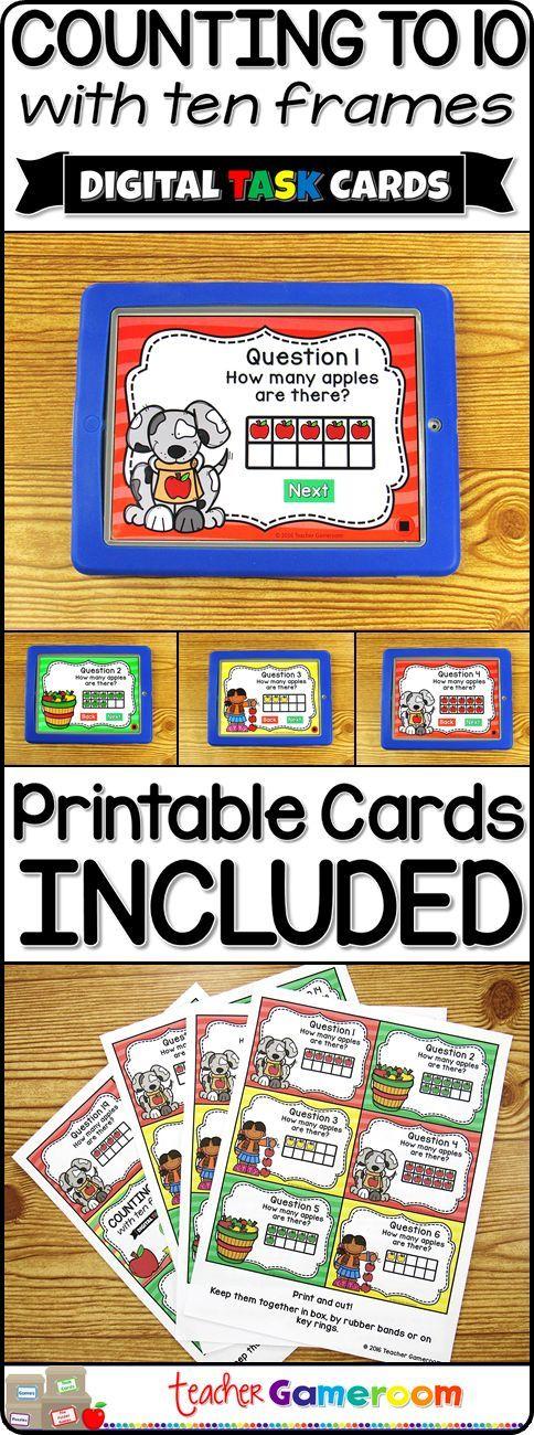 Using Ten frames, students practice counting to 10.Printable cards and digital cards available. #teacher #iteachtoo #teacherspayteachers #education #technology