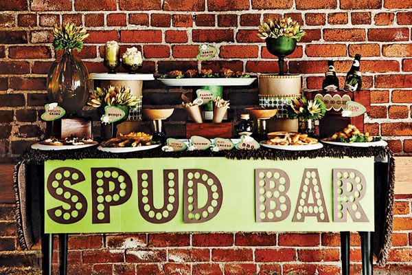 If you and your sweetie don't have a single sweet tooth between you, try setting up a savory snack bar instead. You can turn your favorite dish into a station, with ideas like a themed popcorn stand or mashed potato bar. Related: Stylish Ways to Display Your Food