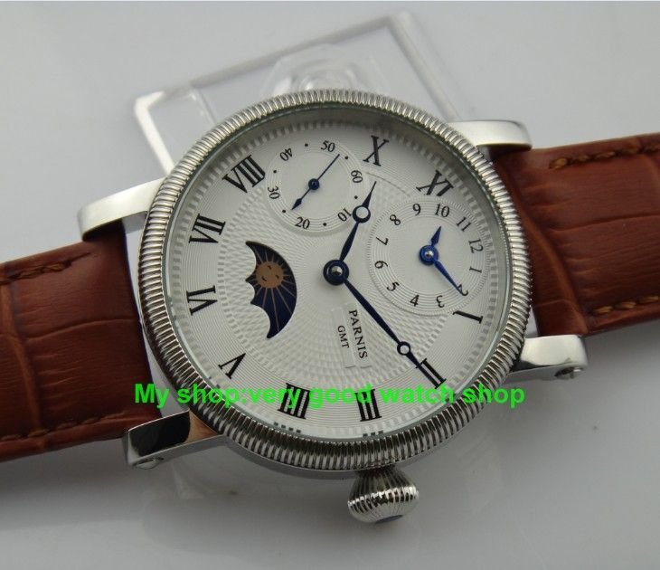 Like and Share if you want this  2016 new fashion 42mm PARNIS white dial Mechanical Hand Wind movement moon phase GMT men's watch 71     Tag a friend who would love this!     FREE Shipping Worldwide     Get it here ---> https://shoppingafter.com/products/2016-new-fashion-42mm-parnis-white-dial-mechanical-hand-wind-movement-moon-phase-gmt-mens-watch-71/