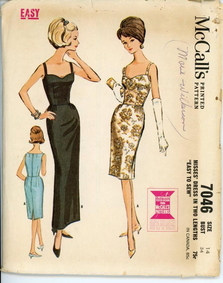 mccalls 7046 misses 1960s dress pattern sleeveless