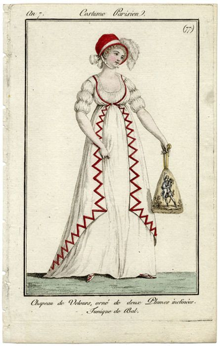 I like the contrasting ribbon trim on this dress. It would be pretty along the bottom of the skirt and pantaloons of the seaside outfit,