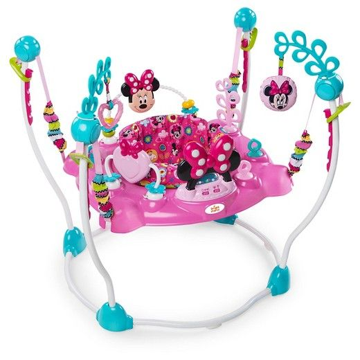 The Minnie Mouse Peek-a-Boo Activity Jumper is EAR-resistably fun for your little one! With more than 12 engaging toys and activities, your baby girl will jump and explore all afternoon. Four easy-adjusting height options grow with baby. The seat rotates in all directions so baby can easily reach all the toy stations while jumping. The electronic toy station entertains baby with Minnie-inspired lights and sounds, along with volume control. Loops allow you to add more toys to keep play time…