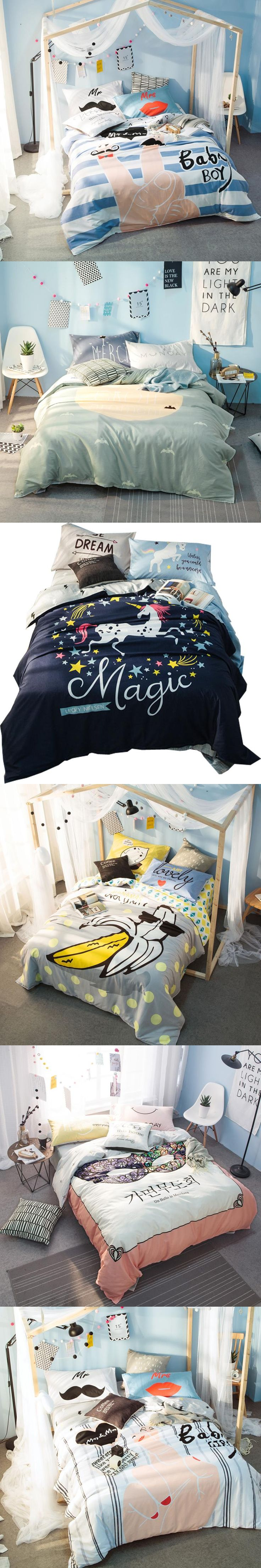 Papa&Mima Cartoon Unicorn Stars Blue Bedding Sets Queen Size Soft Cotton New Bedlinens Duvet Cover Sets Flat Sheet Pillow Cases