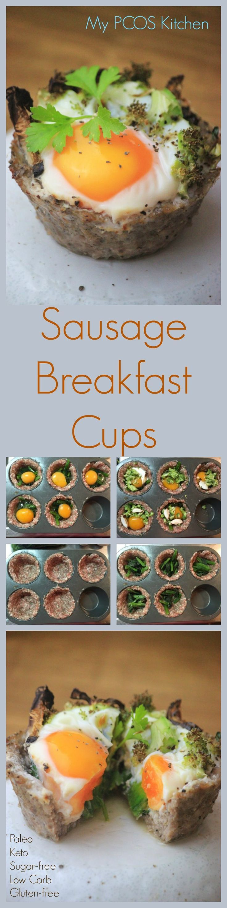 My PCOS Kitchen - Breakfast Sausage Cups - These muffin cups are lined with homemade sausage, filled with goodies and baked in the oven!