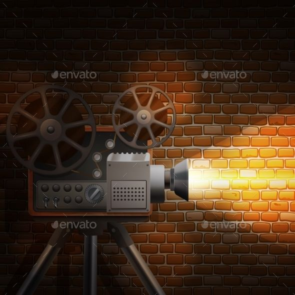 Retro Film Background by macrovector Retro film wallpaper with realistic projector and spotlight on brick wall background vector illustration. Editable EPS and Render
