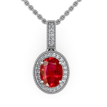 Angara.com: Oval Ruby and Round Diamond Border Pendant: Pendants Features, Pendants Necklaces, Pendants Http Www A2Zoff Com, Diamonds Encrust, Border Pendants, Pendants Httpwwwa2Zoffercom, Diamonds Accent, Diamonds Border, Diamonds Pendants