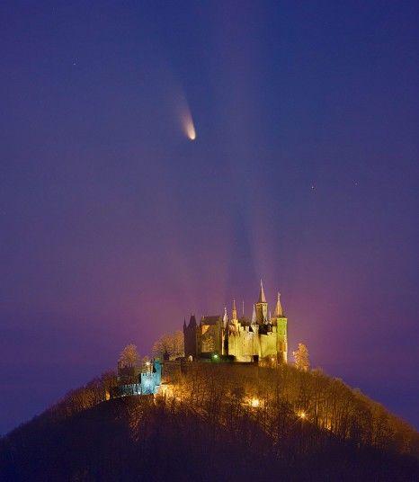 Comet PanSTARRS passes over Hohenzollern Castle, Stuttgart, Germany