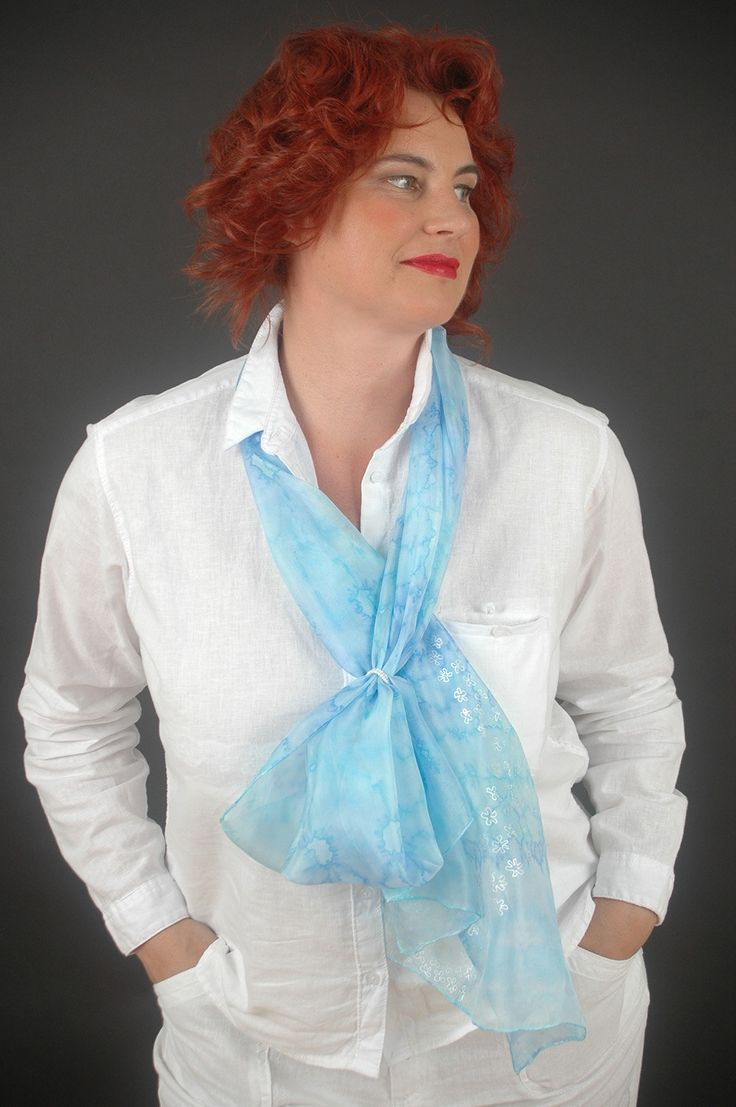 "Hand painted silk scarf ""Flowers of ether"", pastel blue, aquamarine, arctic. Large size 18""x72"" (45x180cm), pure silk. by SilkAndLove on Etsy"