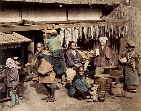 People in front of a Fish Stand, about 1880 Felice Beato or Raimund von Stillfried-Ratenicz
