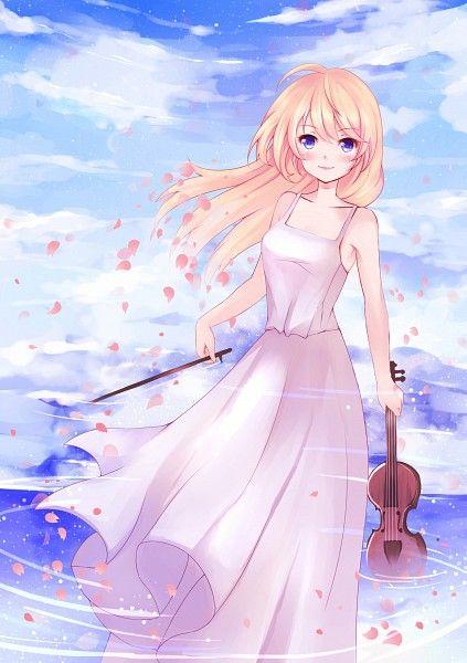 Tags: Anime, Pixiv Id 8655044, Shigatsu wa Kimi no Uso, Miyazono Kaori, Holding Instrument, Violin