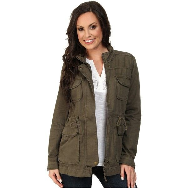 Lucky Brand Core Military Jacket Women's Jacket, Green ($52) ❤ liked on Polyvore featuring outerwear, jackets, green, brown jacket, military jacket, green field jacket, green jacket and zip jacket