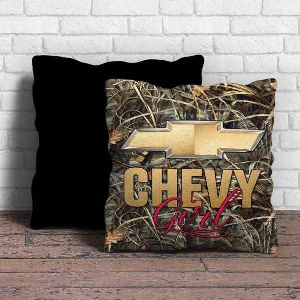 This is chevy girl pillow cushion -Removable poly/cotton cover pillows are soft and wrinkle free. -Hidden zipper enclosure. -Do not include insert. -Finished with a black or white back. -Machine-washa