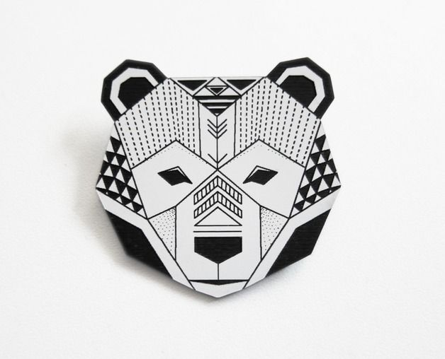 origami inspired bear head brooch