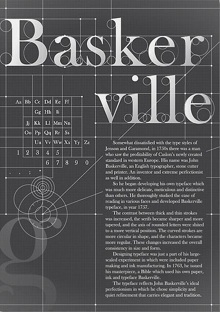 Baskervile,過渡時期(transitional)字體,就存在你家的系統字中。比起同樣是過渡時期風格的Times New Roman,Baskervile更為高雅、更富有人味,因為它隱約帶著一種書寫質感,尤其在斜體的時候更能感覺出來。