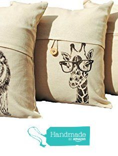 African Linen Blend Throw Pillow Covers Set of 3 Safari Living Room Decor Beige Tweed Rhino Giraffe Lion from Heaps Handworks https://www.amazon.com/dp/B01ANWOVXQ/ref=hnd_sw_r_pi_dp_QYKhybM9R4AKX #handmadeatamazon