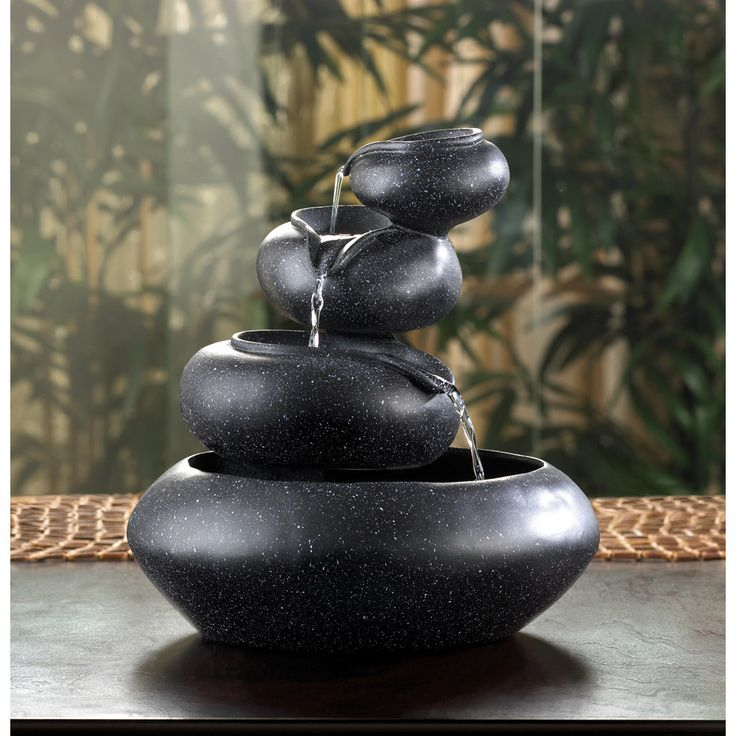 Four granite-finished tiers cycle sparkling water from bowl to bowl, creating an enthralling meditation piece. For indoor use only. Submersible 120V water pump included.