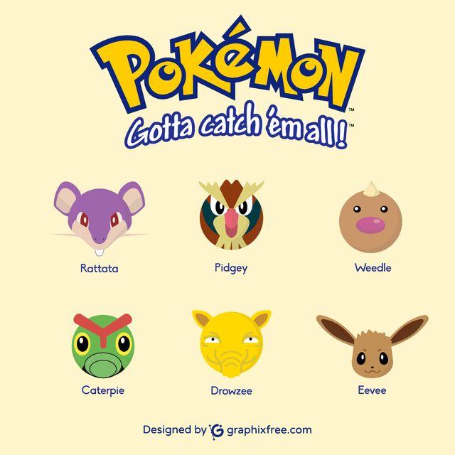 Pokemons: Rattata, Pidgey, Weedle, Caterpie, Drowzee, Eevee - #pokemons #go #pokemongo #rattata #pidgey #weedle #caterpie #drowzee #eevee #games #gaming #manga #shinypokemon #nintendo #cosplay #catch #pokemoncard #collecting #park