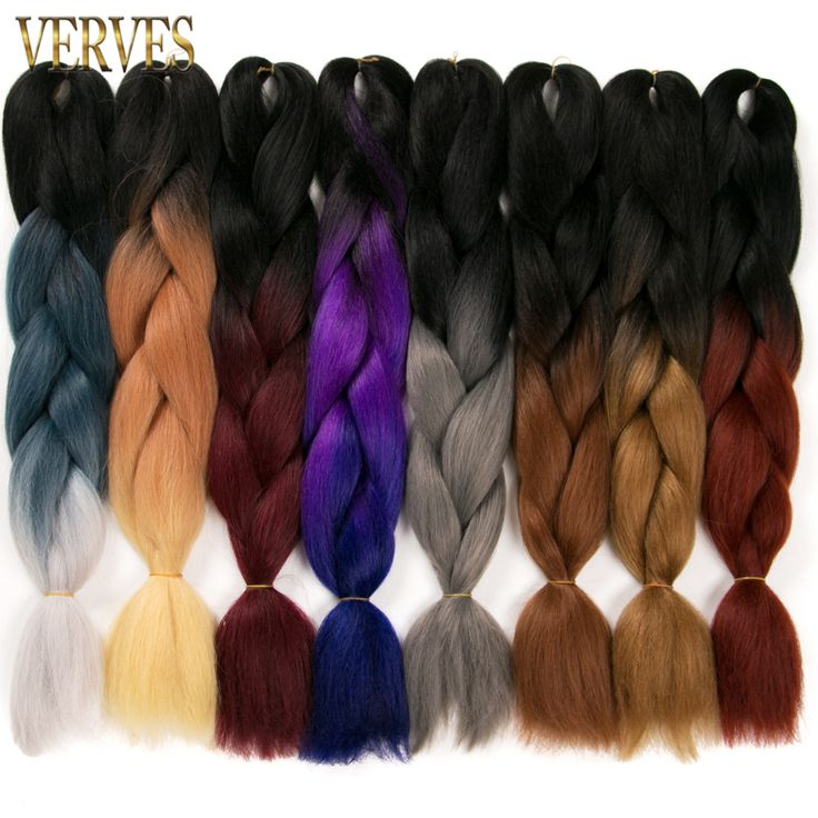one piece Ombre Braiding Hair braid 24'' 100g/piece Synthetic Two Tone High Temperature Fiber Hair Extensions VERVES bulk