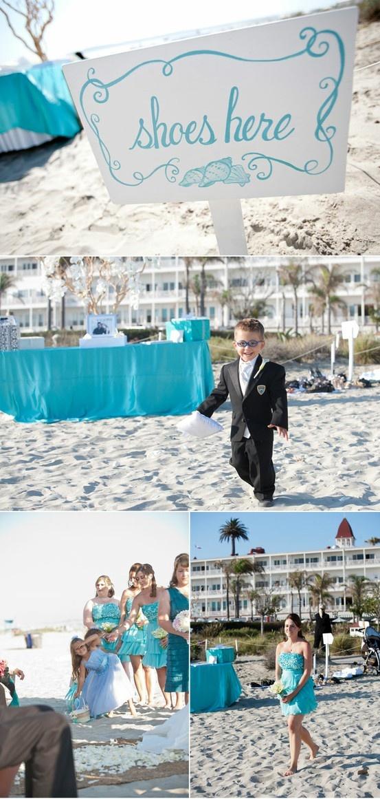 Cute beach wedding :): Signs, Dreams, Bridesmaid Dresses, Cute Ideas, Wedding Props, Beach Weddings, Colors Schemes, No Shoes, Beaches Wedding