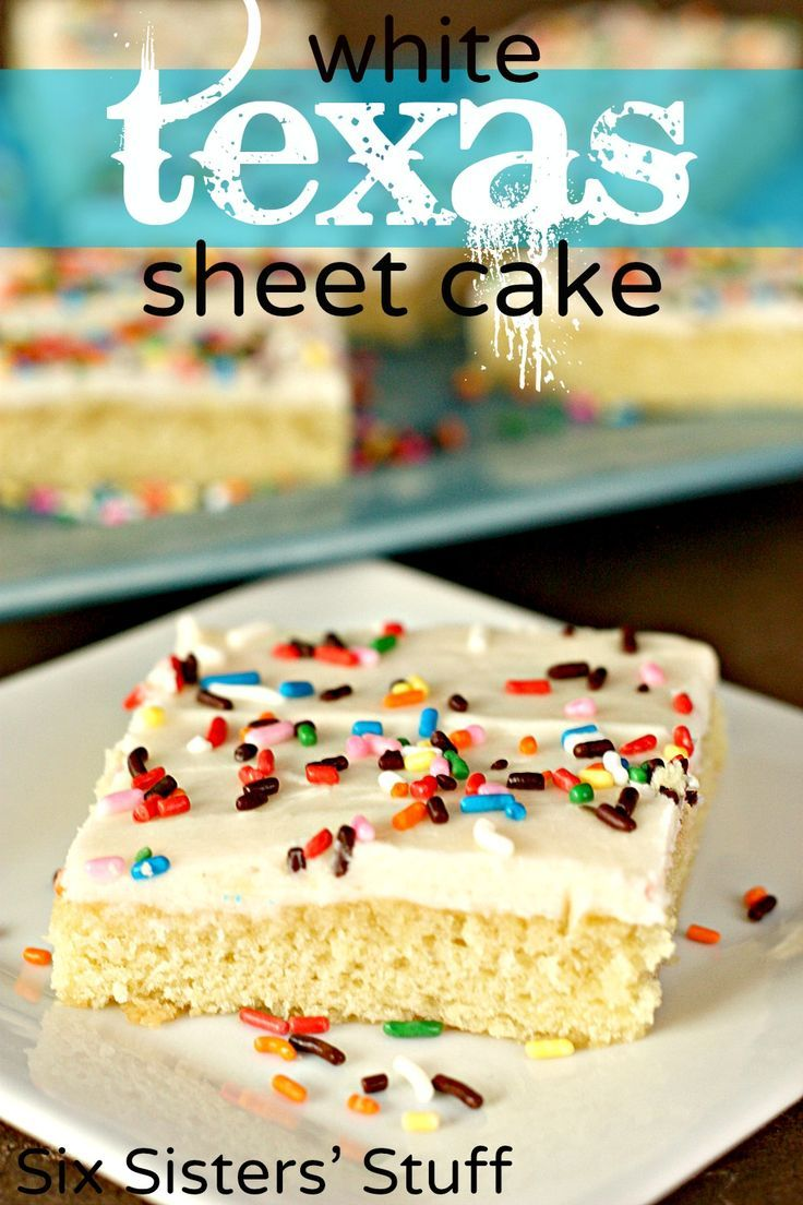 White Texas Sheet Cake from SixSistersStuff.com.  Perfect for feeding a crowd!