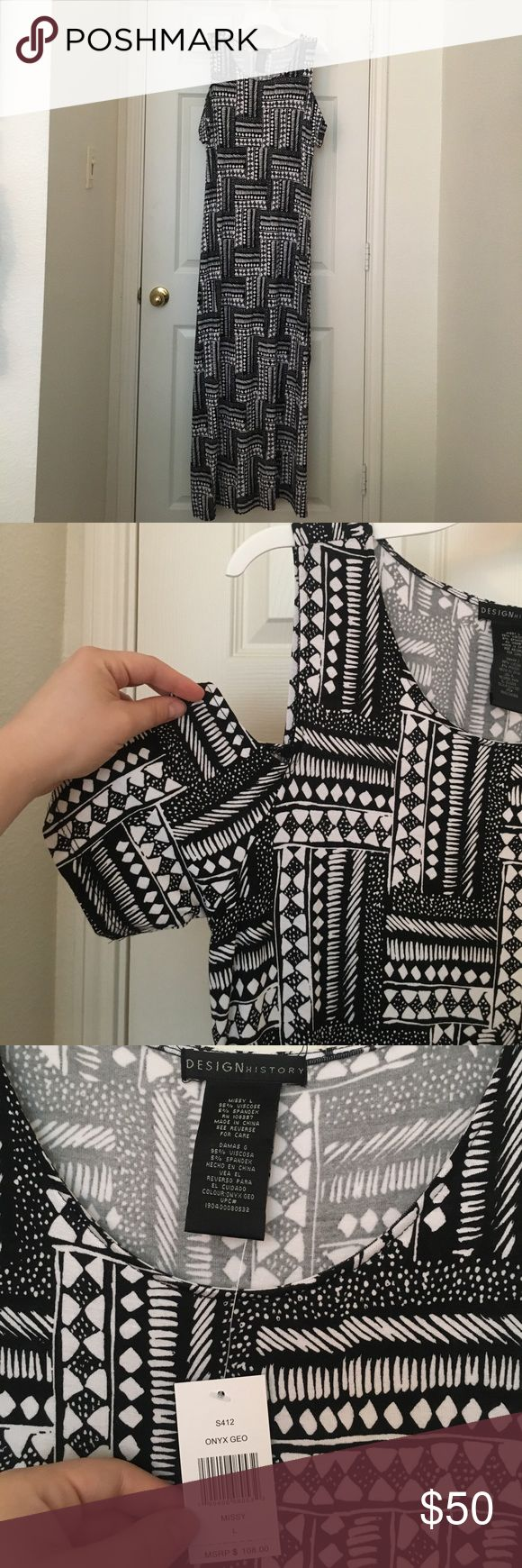 DESIGN HISTORY black and white maxi dress. Design history black and white onyx geo print maxi dress. Cold shoulder sleeve. Design History Dresses Maxi