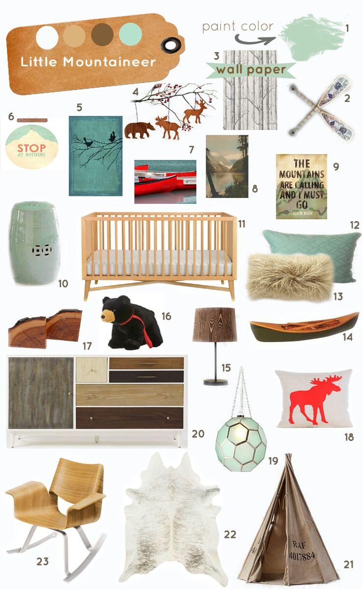 little mountaineer nursery inspiration board...for when i get my nephew....@Wendy Felts Felts Cox