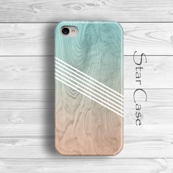 Ombre iPhone 5 Case, Geometric iPhone 5s Case, Wood Print iPhone 4 Case, Cute iPhone 5 Cover, Mint Blue iPhone 5C Case by Star Case