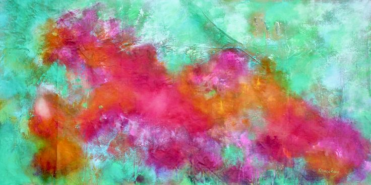 A transformational Artwork for Peru- The moment when the Heart opens; 73 cm x 38 cm; Acrylics on Belgian Linen