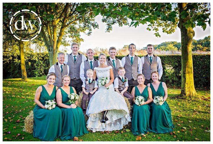 Bridal party photo at The Granary Barns, Suffolk