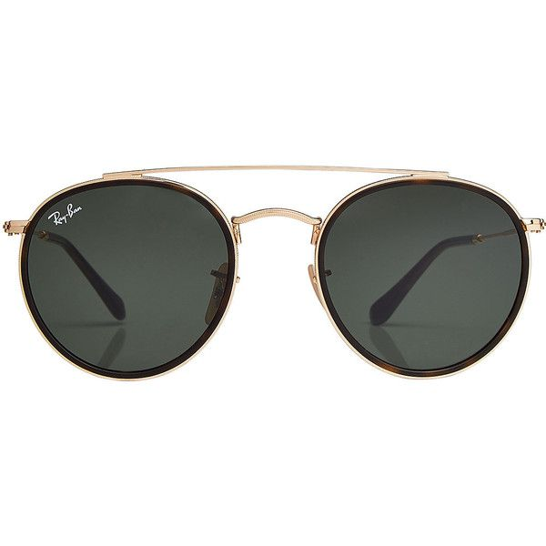 Ray-Ban RB3647N Round Sunglasses (€129) ❤ liked on Polyvore featuring accessories, eyewear, sunglasses, gold, ray ban glasses, double bridge glasses, round gold frame glasses, rounded sunglasses and round sunglasses