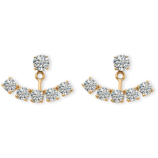 Seta Jewelry 3.50 Tcw Round Cubic Zirconia Ear Jacket Earrings In 14k... (31 CHF) ❤ liked on Polyvore featuring jewelry, earrings, white, gold earrings, gold cz earrings, 14k gold jewelry, white gold jewellery and white gold earrings