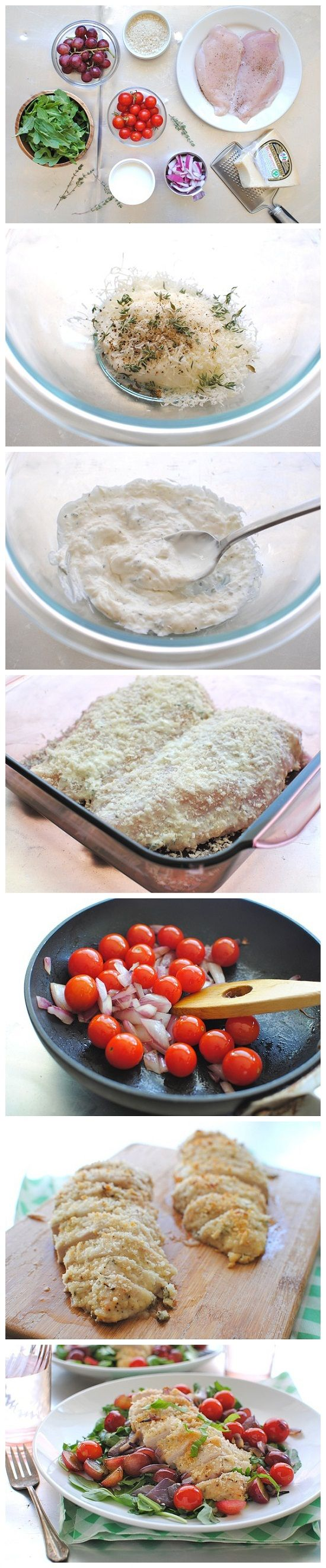 Chicken Parmesan Salad - Ingredients: 4 Tbsp Yoplait Greek plain or light yogurt - 1/4 cup freshly grated Parmesan cheese - 1 tsp fresh thyme leaves - 1 pinch coarse salt and freshly ground pepper - 2 boneless, skinless chicken breasts - 2 Tbsp Progresso breadcrumbs - 1/4 cup red onion, diced - 1/2 cup cherry tomatoes - 4 cups arugula - 1/2 cup halved seedless red grapes - 3 Tbsp extra-virgin olive oil, divided